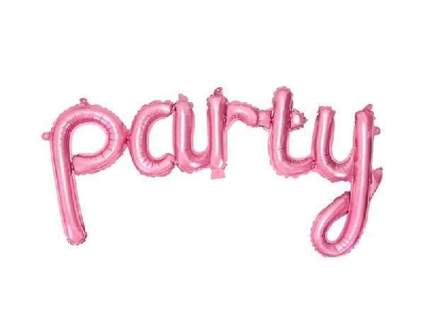 Party fólia lufi felirat, 80*40 cm, rózsaszín