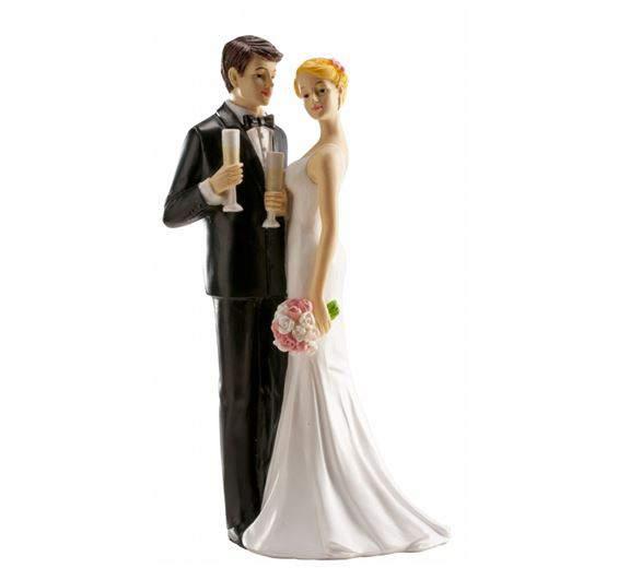 esküvői tortadísz pezsgőspohárral (16 cm)-305042