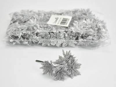 Mikulás virágfej csillámos ezüst 6 fejes 24cs/csomag