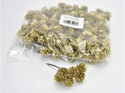 Arany toboz csokor 6 fejes csillámos 24cs/csomag
